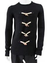 Giulio Bondi Crewneck Sweater with Toggle Fastening