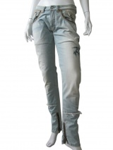 Vic-Torian Jeans con cerniere e pelle