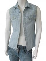 Vic-Torian Camicia smanicata di jeans