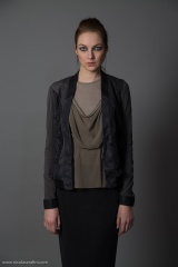 Nicolas & Mark Lasered Leather Cardigan