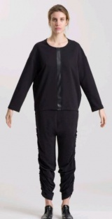 L.V..N Liviana Woman sweatshirt with leather trim