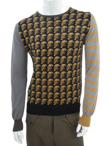 Angelos-Frentzos Long sleeve knit sweater with Skulls