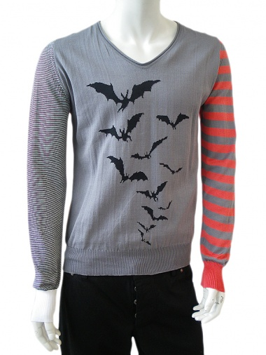 Angelos-Frentzos V -necked knit sweater with bats