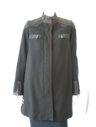 Norio Nakanishi Coat with leather insets