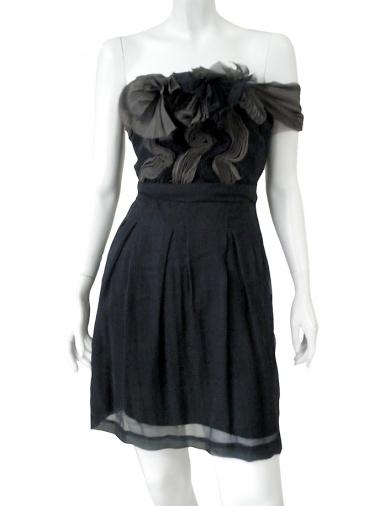Angelos-Frentzos Accordeon pleated dress withou shoulders straps