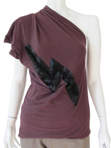 Angelos-Frentzos T-Shirt con una spalla ricamo thunder