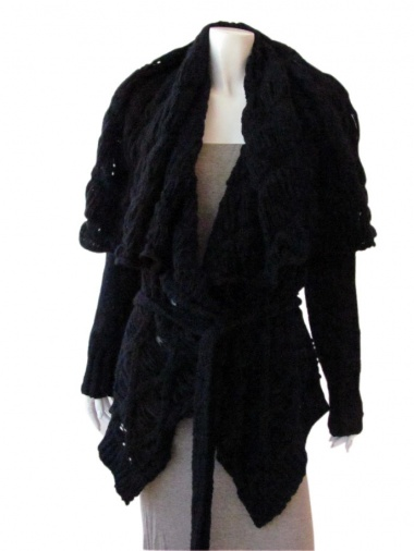 Delphine Wilson Cardigan with frayed diamonds