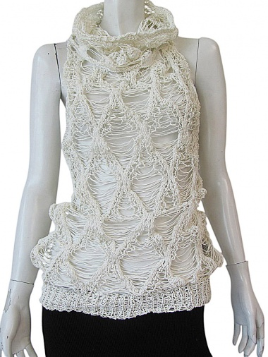 Delphine Wilson Frayed diamonds tank top