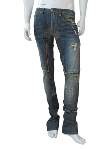 Vic-Torian Jeans with zippers and leather